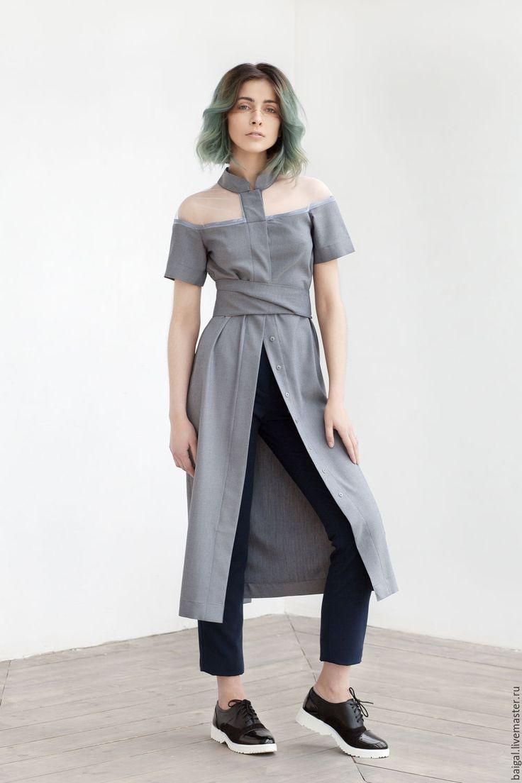 Cotton shirt gown / ICEbathrobe - серый, однотонный, дизайнерская одежда, платье рубашка, рубашка, халат, минимализм