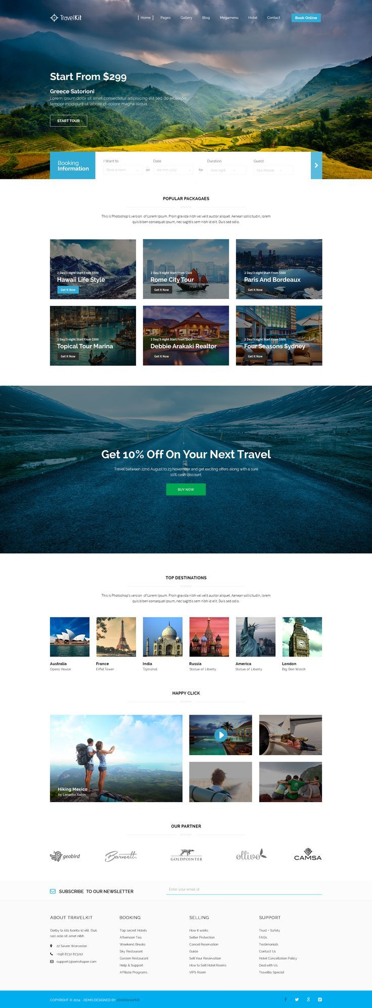 De header/navigatie is clean. Onder zie je een mooie verdeling van blokjes en daaronder wordt het weer onderbroken met een fullscreen image.  Travelkit by JoomShaper (scheduled via http://www.tailwindapp.com?utm_source=pinterest&utm_medium=twpin&utm_content=post8777518&utm_campaign=scheduler_attribution)