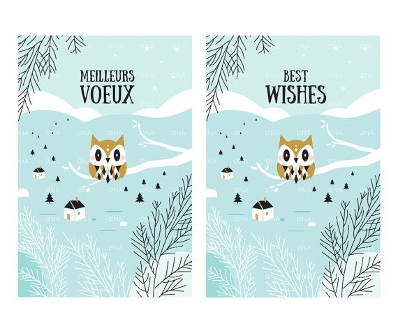 Printable Greetings Card, Best wishes, Happy New year, English and French versions, Instant Download, Holidays Printables, Owl Card