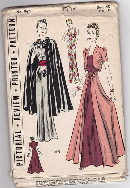 "1930s 40"" Bust Dress Vintage Sewing Pattern - Pictorial Review 9471"