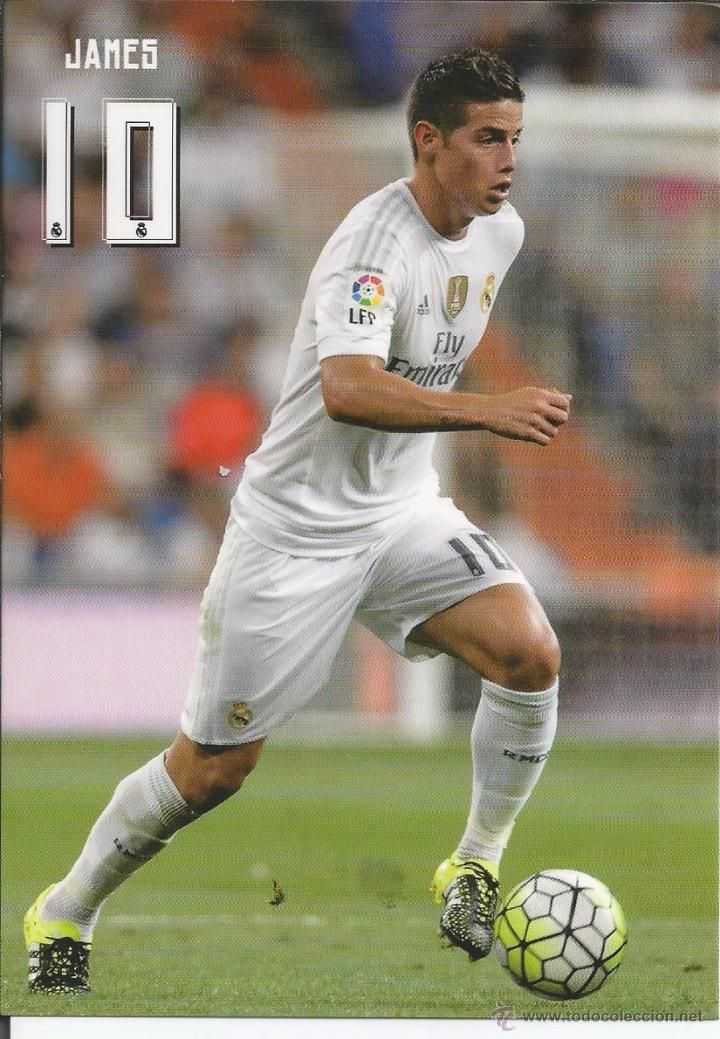 Real Madrid - James Rodriguez 2 Official postcard 2015-16- NO ES ARGENTINO PERO ME ENCANTA JAMES