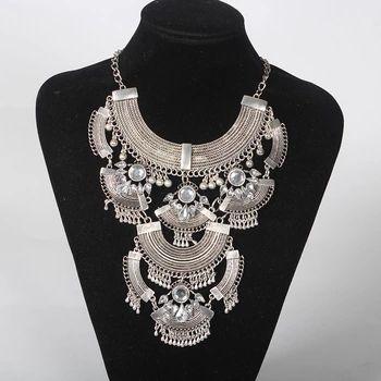 2016 new fashion power big gem statement necklace & pendants collar long vintage chains choker maxi necklaces women fine jewelry