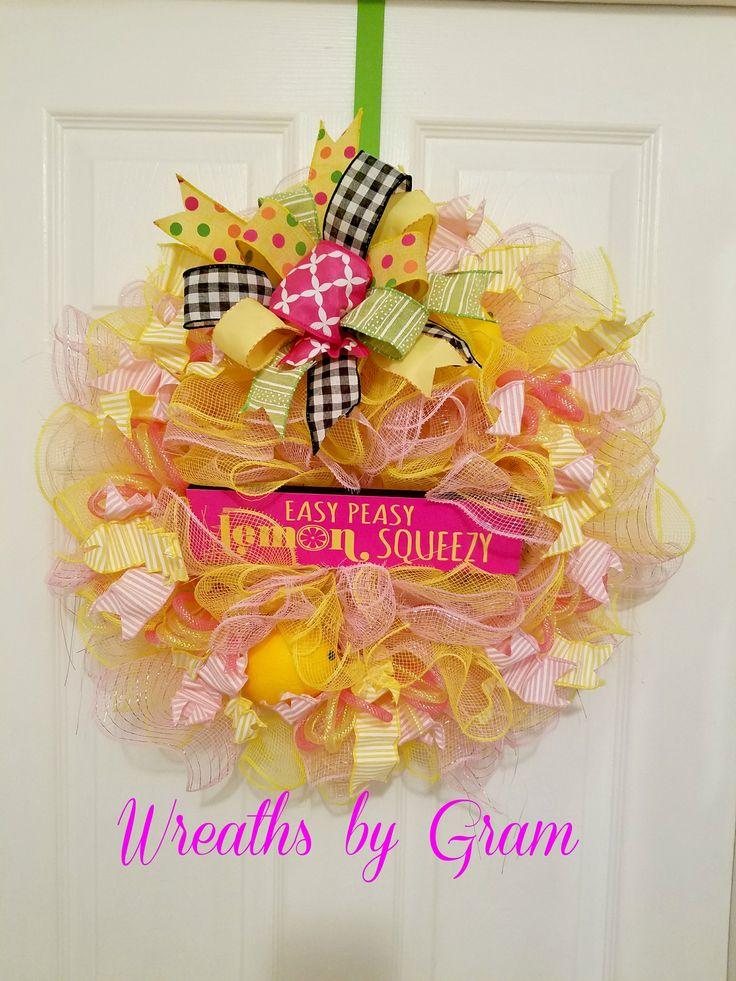 Lemon Wreath   Lemon Decor  Kitchen Decor  BIRTHDAY GIFT; HOUSEWARMING GIFT; HANDMADE GIFT; FRONT DOOR WREATH;    DOOR DECOR; RETIREMENT GIFT; OFFICE DECOR; BEACH HOUSE DECOR; FARMHOUSE STYLE; FARMHOUSE KITCHEN; WREATHS  #lemons #kitchen #wreaths #christmaspresents #handmade #farmhousestyle #farmhousekitchen #kitchendecor #yellowandpink #housewarminggift #giftidea #birthdaygift #frontdoorwreath
