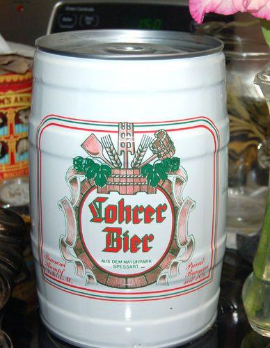 GERMAN KEG OF BEER CAN PUB DECOR BREWERY INTERNATIONAL BEERS LOHRER BIER 5 LITER EMPTY KEG CAN DECOR FOR SALE