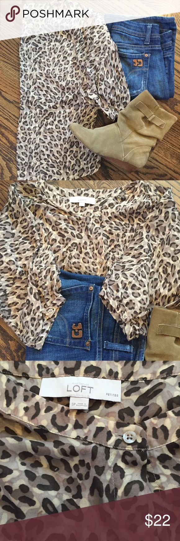 Animal print Ann Taylor Loft batwing top This animal print batwing top from Ann Taylor Loft takes the colors of fall and combines them with a fun & flirty animal print.  The top is semi-sheer with a boat neck and 3/4 sleeves.  In excellent used condition.  Size SP. LOFT Tops