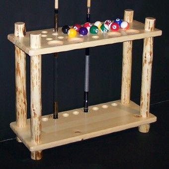 Klondike log floor cue rack rustic game room cabin for Cue rack plans