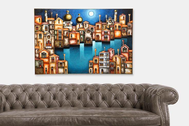 Venezia raffigurata in questo quadro dall'artista Elio De Pasco   fluidofiume Galleria d'arte