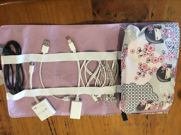 Technology roll. Made with a zipper bag to hold chargers. Rolls up and tied with a ribbon.