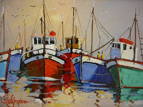 Harbour Scene Willie Strydom in 2019 Sailboat painting