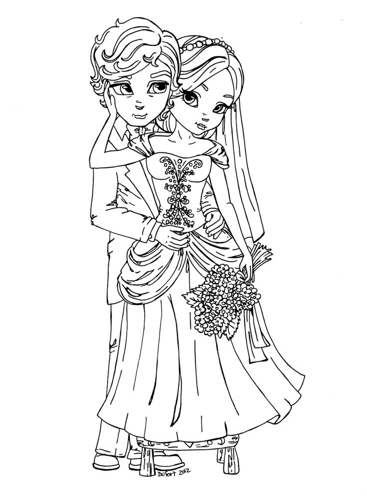 Bride 'n Groom by *JadeDragonne on deviantART