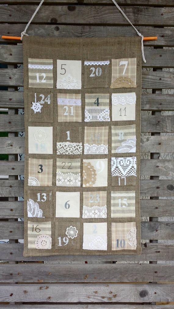 Vintage feel burlap Advent calendar by Littlewhiteboutique on Etsy