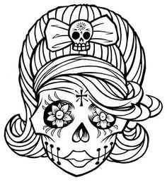 Sugar skull beehive. Embroidery pattern cross stitch. Tattoo outline stencil.