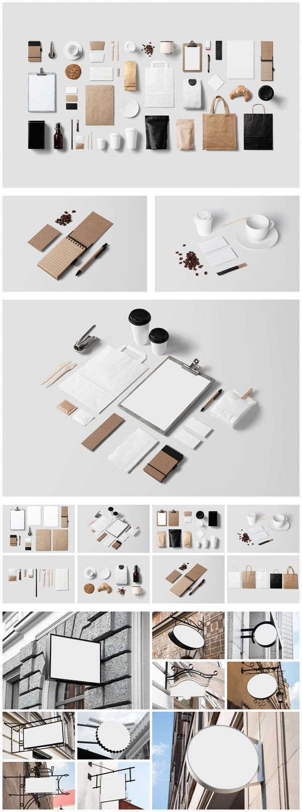 Coffee stationery mockup as well as 10 sign mockups.