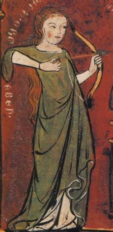 Lady Love (Minne) shoots an arrow on the Lover. Detail of a painting found on the inside a boxlid, Germany, c.1320.