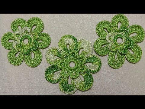 Урок вязания крючком ЦВЕТКА двухцветного. Crochet Flowers. Вязаные цветы крючком - YouTube