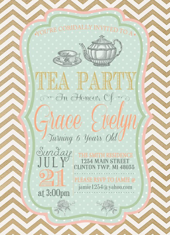 21 best images about Little girls high tea party ideas – Little Girl Tea Party Invitations