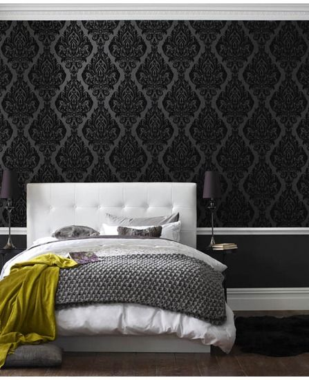 Kinky Vintage | Black Damask Flock Wallpaper | bedroom - I am in love with this wall paper