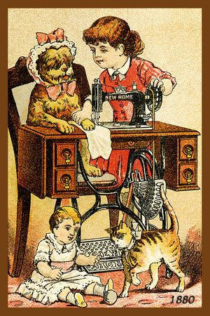 New Home Sewing Machine - 1880 Trade Card. Quilt Block printed on cotton. Ready to sew.  Single 4x6 block $4.95. Set of 4 blocks with free wall hanging pattern $17.95