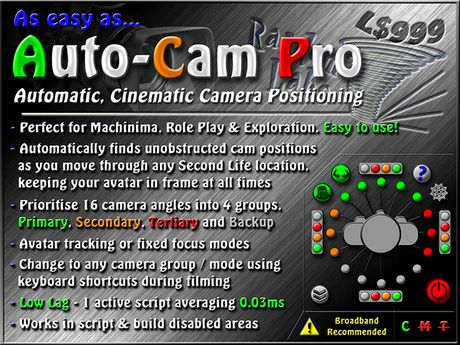 Auto Cam Pro - Automatic, cinematic camera positioning hud! Great for Machinima, Role Play & Exploration!
