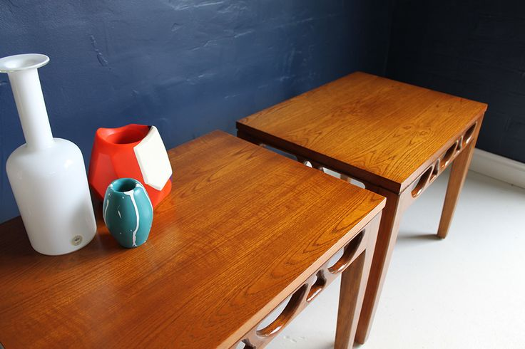 A pair of Avalon 1960s mid-century teak side tables