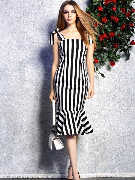 Stripe Print Paneled Polyester Midi dress #stylewe #summer #casual #fashion