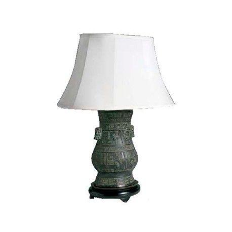 Lámpara jarrón de bronce y pantalla Ancho 40 / Fondo 25 / Alto 70