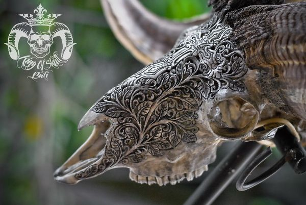 Hand Carved XL Ram Skull with Tribal Cross PatternFind this skull on Etsy