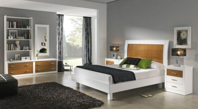 wandfarbe schlafzimmer grau moderne möbel weiß holzfurnier