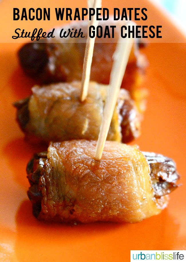 Bacon Wrapped Dates Stuffed With Goat Cheese | http://www.urbanblisslife.com | #dates #bacon #appetizer #goatcheese