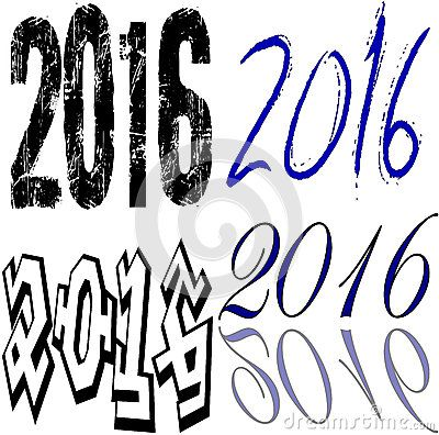 2016 Collage - Set of the words 2016 in different writing on a white background.
