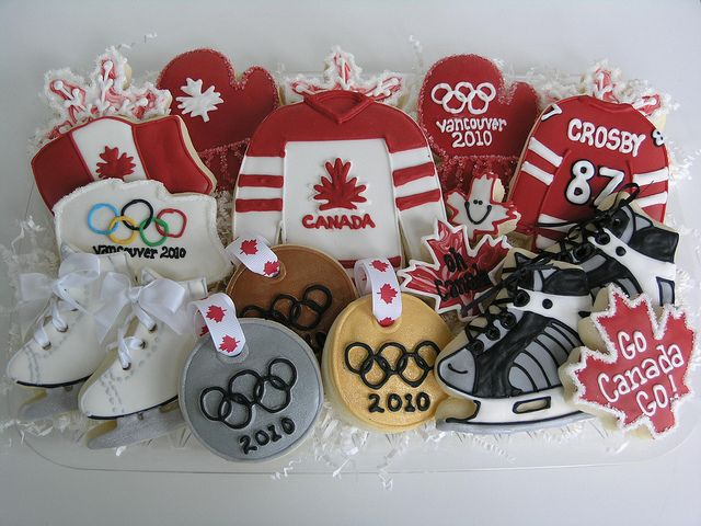 Great Olympic cookies with skates, medals, flags and ice hockey jerseys, sweets