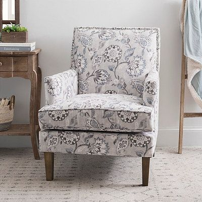 Best Cream And Blue Floral Square Back Accent Chair Furniture 400 x 300