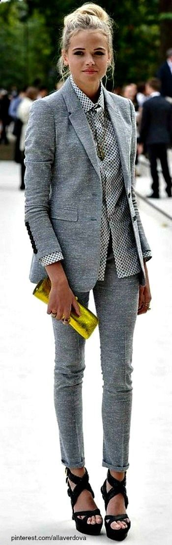 Street style - love the suit! But would probably throw on a white button up and chucks instead of heels.