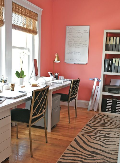 Home Office Idea - love the coral walls!