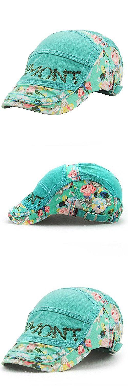 Yingrui Spring Floral Berets Cotton Men Newsboy Cap Flower Driving Hat (Green)