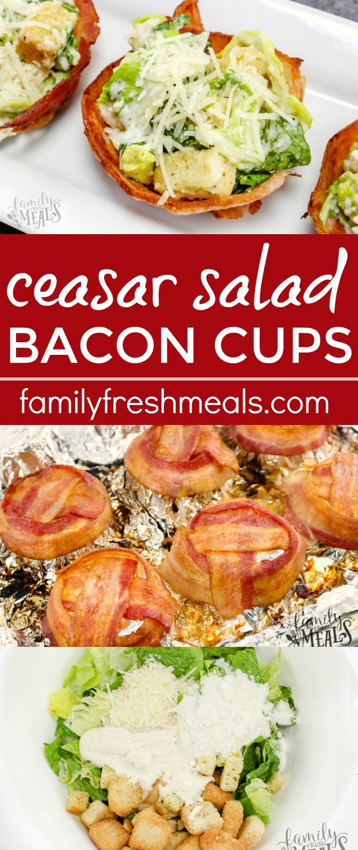 But what if salad could be a one-hand meal? Now it can…with bacon cups! These Caesar Salad Bacon Cups will be your new favorite!