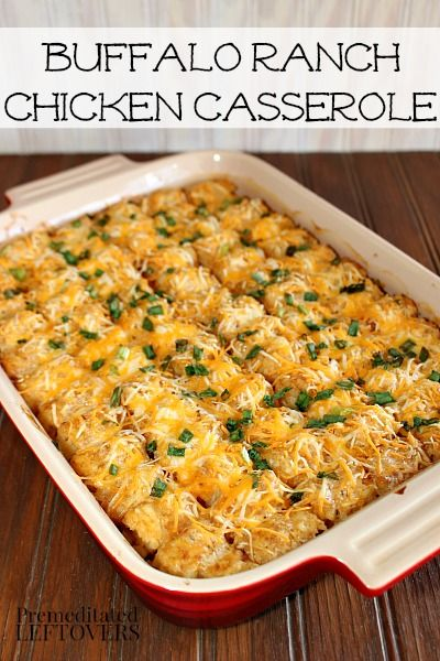 Buffalo Ranch Chicken Casserole Recipe - An easy casserole recipe using Tater Tots, Chicken, Hot Sauce and Ranch Dressing. #oreidamom #sp