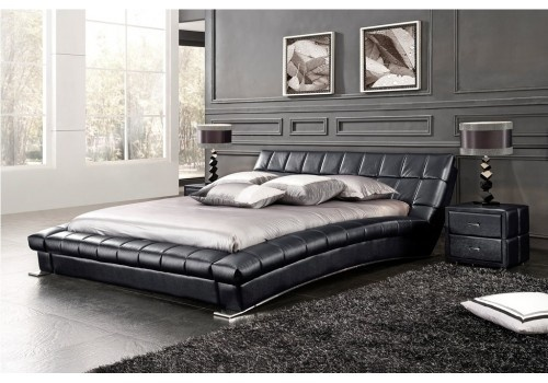 Lit design avec tete de lit cuir et sommier balboa loft - Encadrement lit x ...