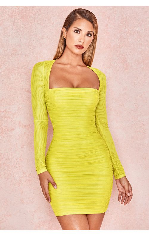 f7bd497f9cab Clothing : Bodycon Dresses : 'Valentina' Chartreuse Long Sleeved Ruched  Organza Mesh Dress