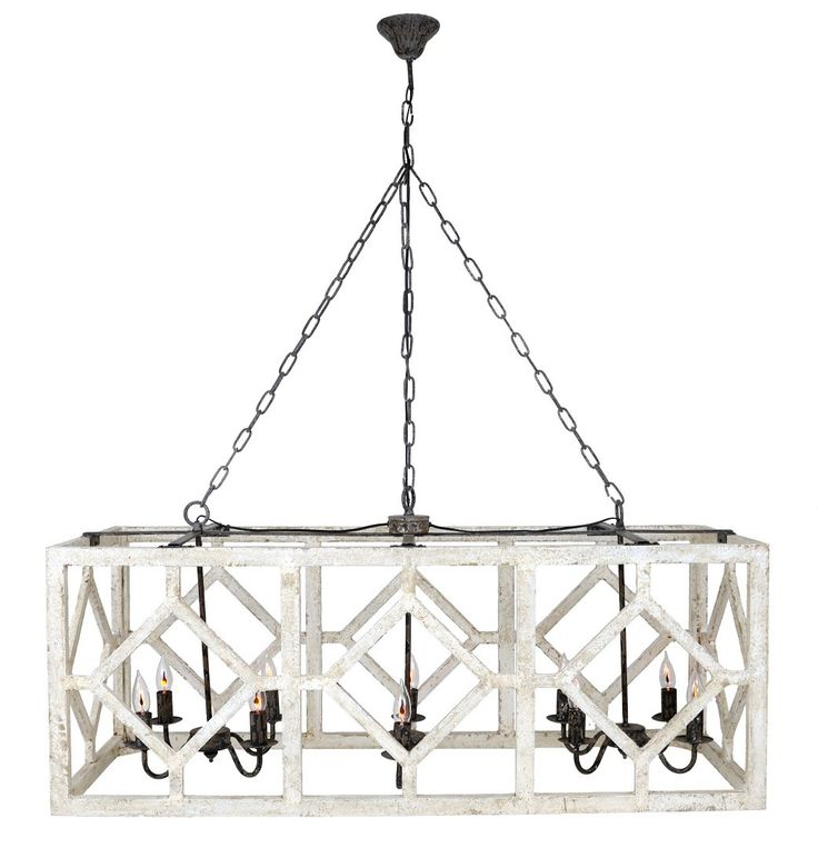 Geometric Rectangle Chandelier (Old White)