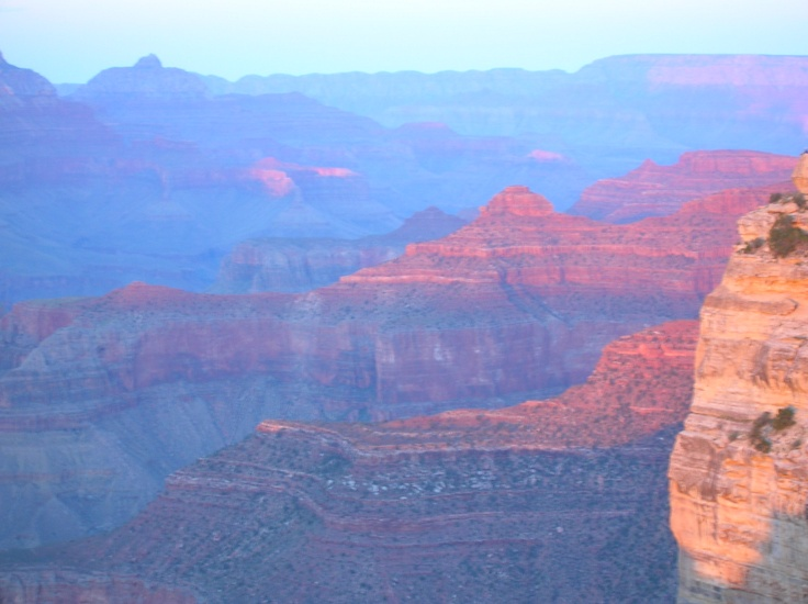 The first time I went to the Grand Canyon I was 13; I had never seen any place like it. In 2008, I returned, having traveled by then all over the world, I realized there is no place like this anywhere else on earth.  Every moment of this sunset was unique and spectacular and spoke to the poet in me, though I was shivering in my shorts, just as I did when I was a girl of 13, with no concept of all the other wonders that were just waiting for me to discover them out in the big wide world.