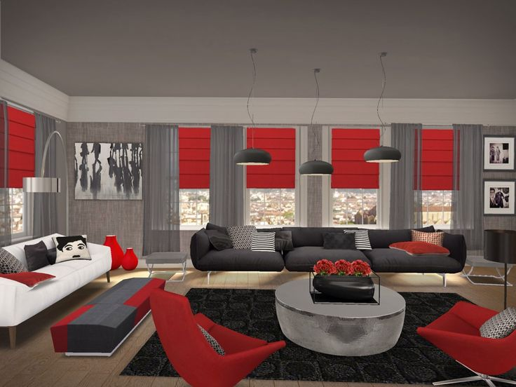 Red And Black Living Room Living: Awesome Red Black Living Room: 12 Red Black Living