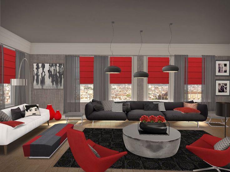 37 best living rooms, kitchens images on Pinterest Living room - black and red living room ideas