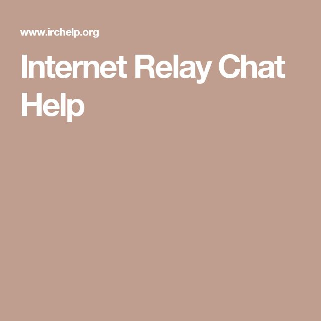 Internet Relay Chat Help