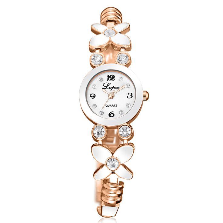 Lvpai Brand Flower Diamond Watch Women Bracelet Female Fashion Wrist Watch Golden White Dress Watch Quartz reloj mujer Clock