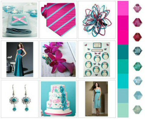 Teal And Fuschia Wedding Colour Inspiration Mood Board