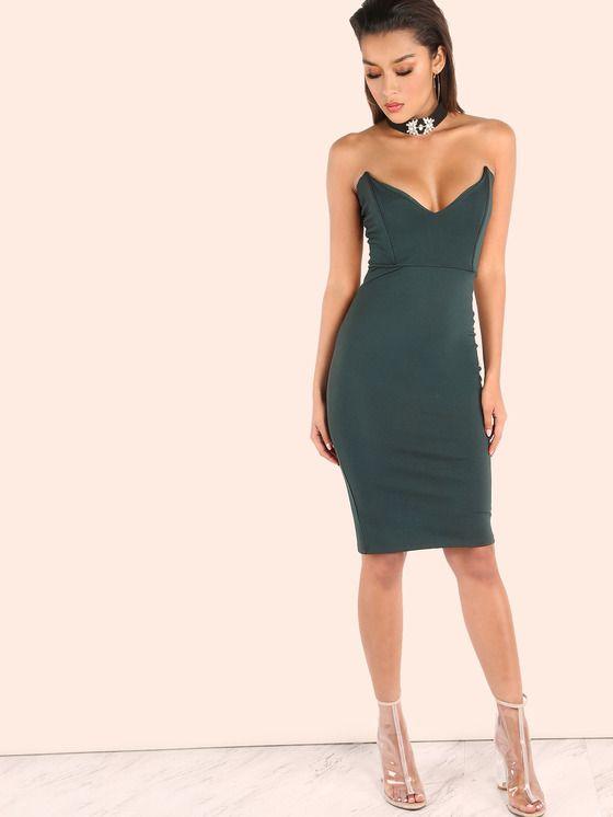 V Plunge Bandeau Bodycon Dress HUNTER GREEN | MakeMeChic.COM Mobile Site