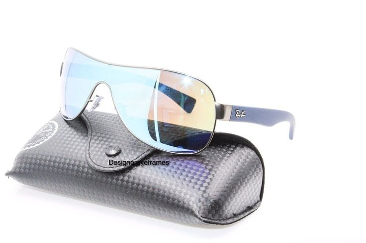 Ray Ban RB 3471 029/55 Gunmetal Blue Mirrored Shield Sunglasses NWC AUTH #RayBan #Shield