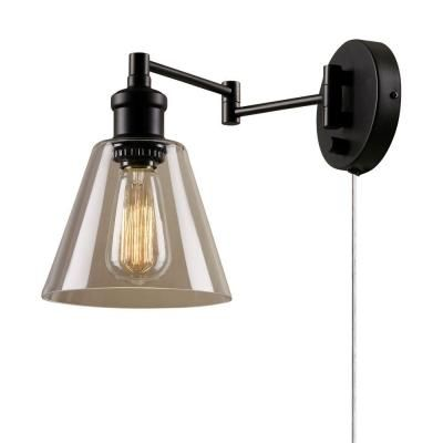 Globe Electric 1-Light Dark Bronze Plug-in Wall Sconce with Clear Glass Shade and Clear 6 in. Cord