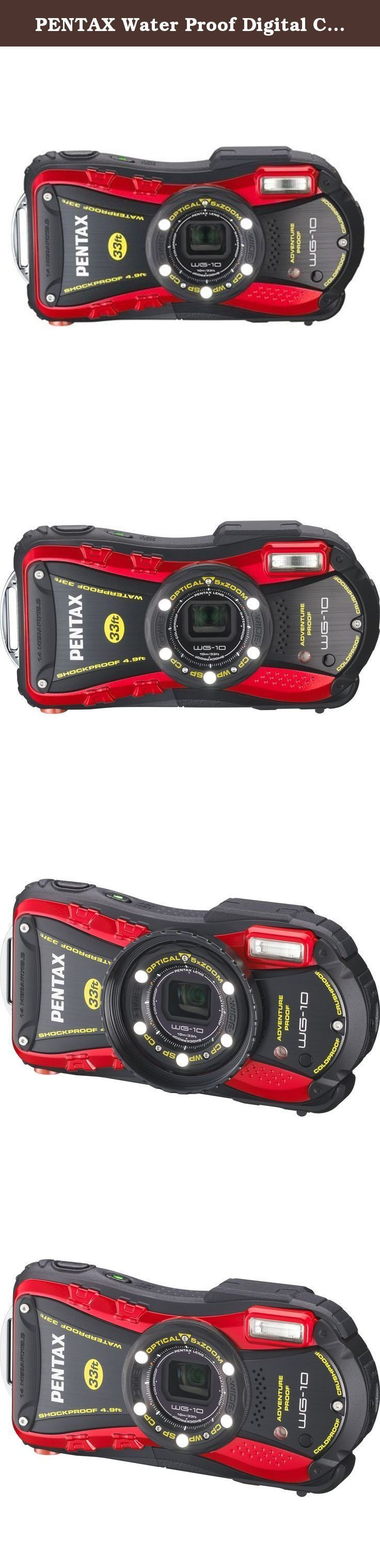 PENTAX Water Proof Digital Camera PENTAX WG-10 Red 1cmMacro Macro Stand PENTAX WG-10RD. Camera Features: Underwater Capability, 1080p HD Movie Recording, Face Detection Technology, Carabiner, Auto Scene Selector, Auto Focus, Digital Image Stabilization, Blink Detection Flash Features: Forced Flash, Built-In Flash, Slow-Sync Flash, Red-Eye Reduction, Manual Override, Auto On/Off Lens Features: Image Stabilization, Weather-resistant, Wide Angle, Face Detection, Automatic Focus Lock, Auto Focus…